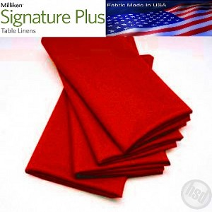 "Milliken Signature Plus Table Napkins, 100% Spun Milliken Polyester, 21"" x 21"", Case of 12 each (low as $ 1.43 ea) RED"