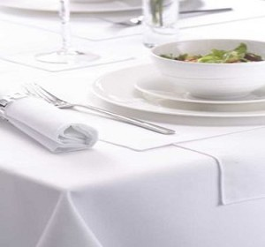 "White Table Cloths, 100% Spun Polyester, Size: 54"" x 54"", Price per Dozen"