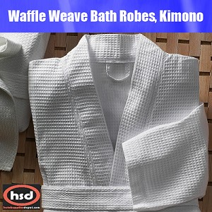 "Hotel -Spa Bathrobe, Honeycomb Waffle Weave, Kimono, Blend, 48 x 60"", Blend of Cotton Polyester. (12 Units per case) Price Each. Low as $ 15.61"